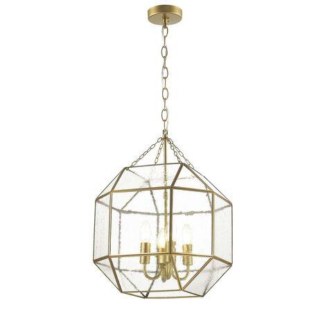 Подвесная люстра Favourite Quadratum 1948-4P, 4xE14x40W, матовое золото, прозрачный, металл, стекло