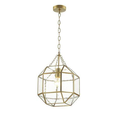 Подвесной светильник Favourite Quadratum 1948-1P, 1xE27x60W, матовое золото, прозрачный, металл, стекло - миниатюра 1