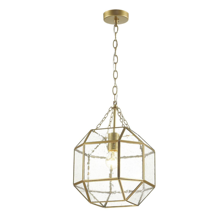 Подвесной светильник Favourite Quadratum 1948-1P, 1xE27x60W, матовое золото, прозрачный, металл, стекло - фото 1