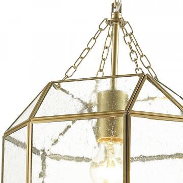 Подвесной светильник Favourite Quadratum 1948-1P, 1xE27x60W, матовое золото, прозрачный, металл, стекло - миниатюра 3