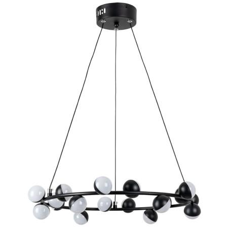 Подвесная светодиодная люстра Arte Lamp Dexter A3619SP-18BK, LED 55W 4000K 2500lm CRI≥70, черный, металл, металл с пластиком