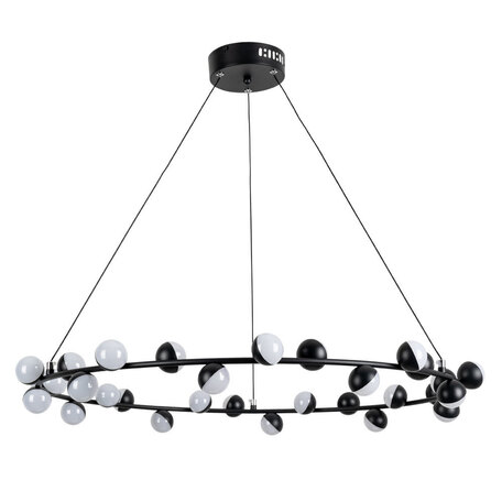 Подвесная светодиодная люстра Arte Lamp Dexter A3619SP-30BK, LED 90W 4000K 3500lm CRI≥70, черный, металл, металл с пластиком