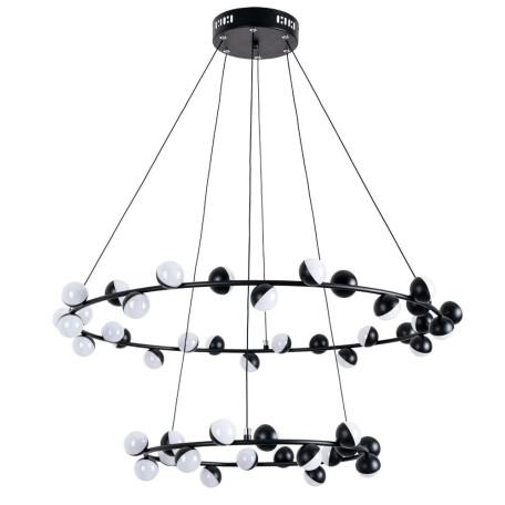 Подвесная светодиодная люстра Arte Lamp Dexter A3619SP-48BK, LED 140W 4000K 5000lm CRI≥70, черный, металл, металл с пластиком