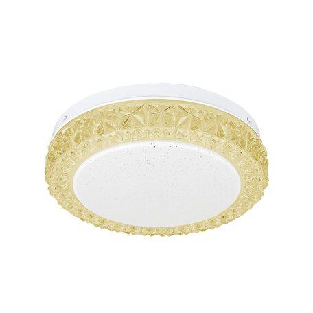 Потолочный светодиодный светильник Citilux Кристалино Слим CL715R122, LED 12W 3000K 900lm, белый, желтый, металл, пластик
