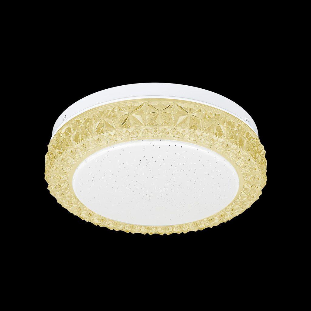 Потолочный светодиодный светильник Citilux Кристалино Слим CL715R122, LED 12W 3000K 900lm, белый, желтый, металл, пластик - фото 2