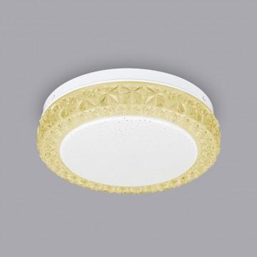 Потолочный светодиодный светильник Citilux Кристалино Слим CL715R122, LED 12W 3000K 900lm, белый, желтый, металл, пластик - миниатюра 3