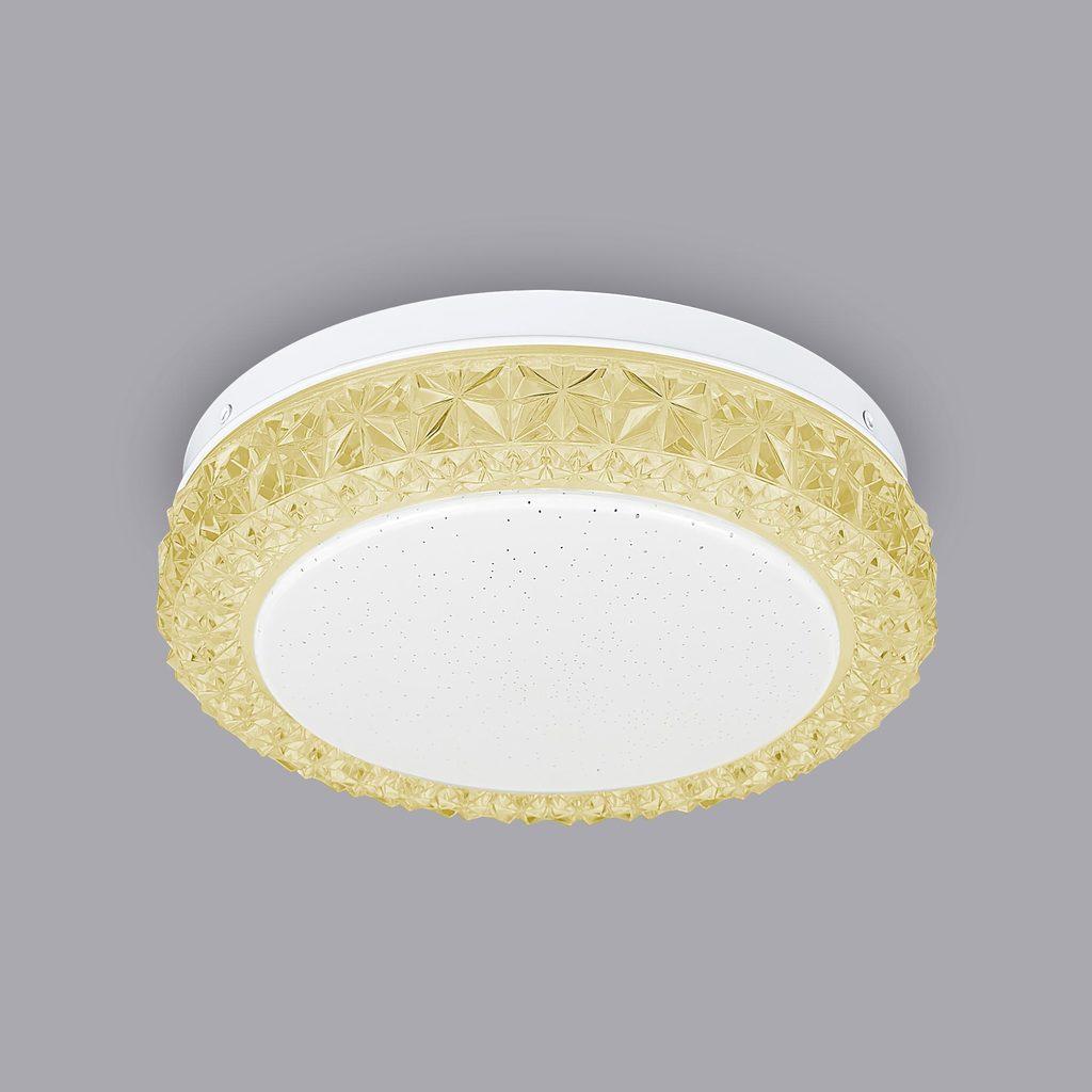 Потолочный светодиодный светильник Citilux Кристалино Слим CL715R122, LED 12W 3000K 900lm, белый, желтый, металл, пластик - фото 3