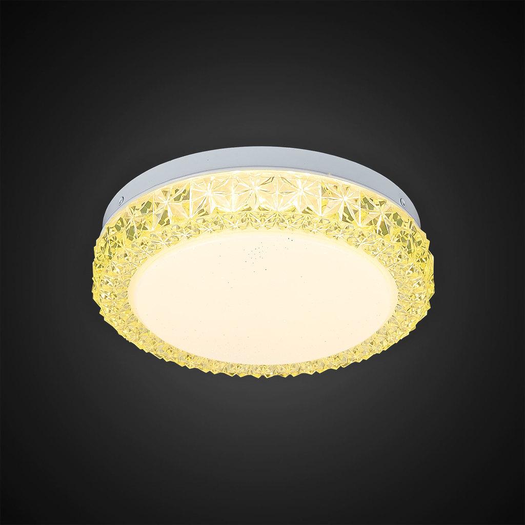 Потолочный светодиодный светильник Citilux Кристалино Слим CL715R122, LED 12W 3000K 900lm, белый, желтый, металл, пластик - фото 4