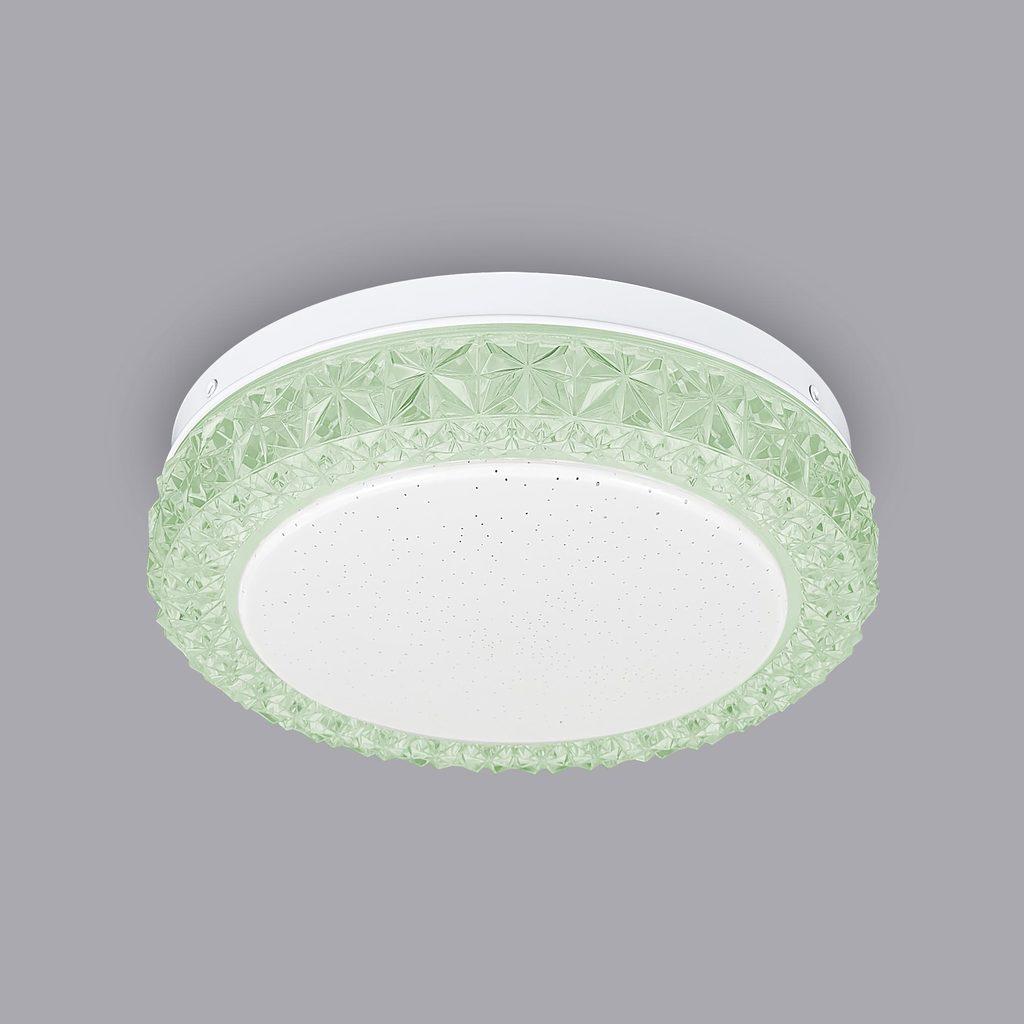 Потолочный светодиодный светильник Citilux Кристалино Слим CL715R123, LED 12W 3000K 900lm, белый, зеленый, металл, пластик - фото 4