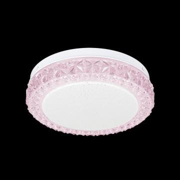 Потолочный светодиодный светильник Citilux Кристалино Слим CL715R124, LED 12W 3000K 900lm, белый, розовый, металл, пластик - миниатюра 2
