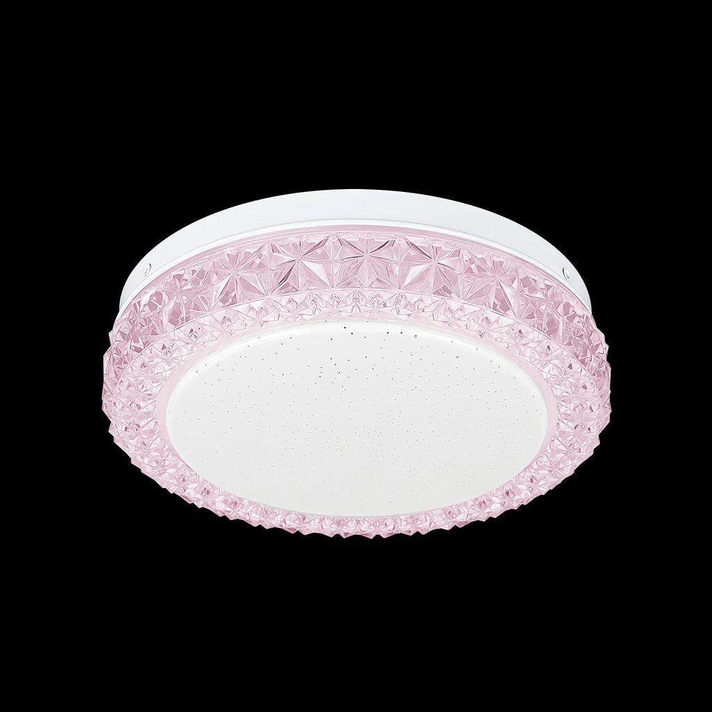 Потолочный светодиодный светильник Citilux Кристалино Слим CL715R124, LED 12W 3000K 900lm, белый, розовый, металл, пластик - фото 2