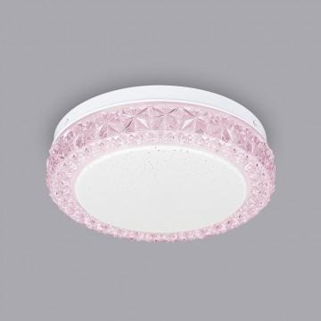 Потолочный светодиодный светильник Citilux Кристалино Слим CL715R124, LED 12W 3000K 900lm, белый, розовый, металл, пластик - миниатюра 3