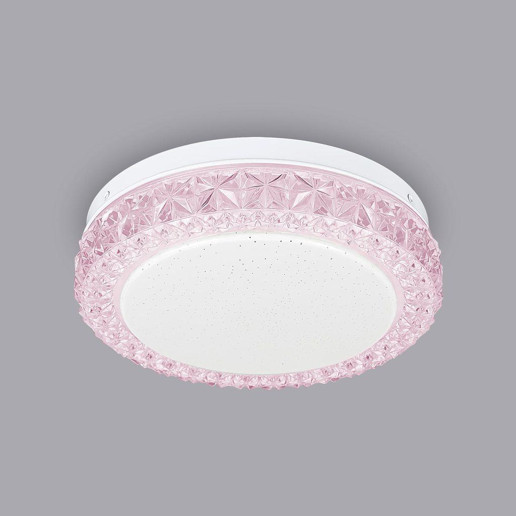 Потолочный светодиодный светильник Citilux Кристалино Слим CL715R124, LED 12W 3000K 900lm, белый, розовый, металл, пластик - фото 3