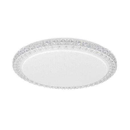Потолочный светодиодный светильник Citilux Кристалино Слим CL715R360, LED 36W 3000K 2700lm, белый, прозрачный, металл, пластик