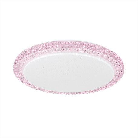 Потолочный светодиодный светильник Citilux Кристалино Слим CL715R364, LED 36W 3000K 2700lm, белый, розовый, металл, пластик