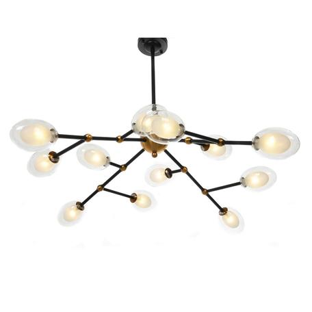Подвесная люстра Lumina Deco Crocus LDP 7002-12 BK+MD, 12xG4x5W, черный, белый, прозрачный, металл, стекло