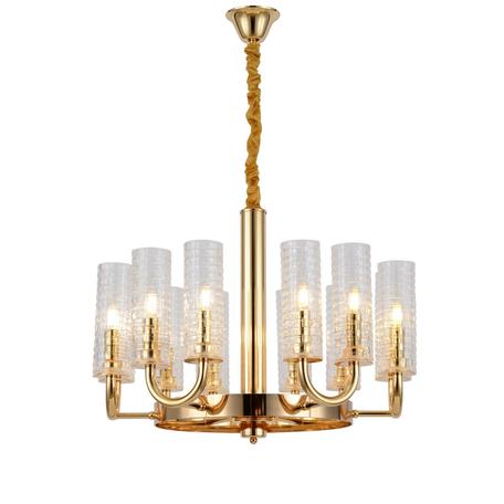 Подвесная люстра Lumina Deco Donatti LDP 8011-12 F.GD, 12xE14x40W, золото, прозрачный, металл, стекло