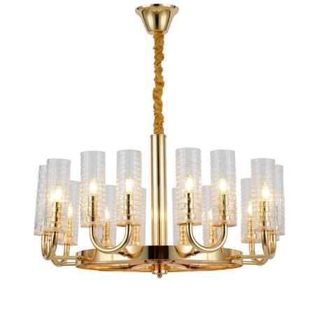 Подвесная люстра Lumina Deco Donatti LDP 8011-16 F.GD, 16xE14x40W, золото, прозрачный, металл, стекло