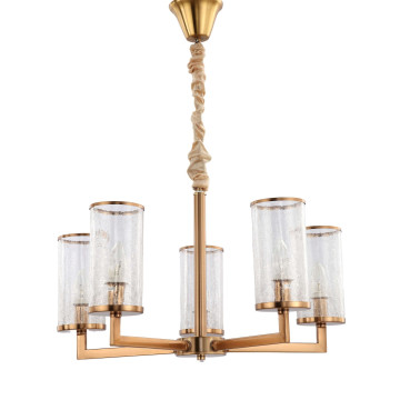 Подвесная люстра Lumina Deco Howard LDP 8040-5 MD, 5xE14x40W, матовое золото, янтарь, металл, стекло - миниатюра 2