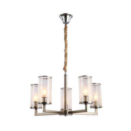 Подвесная люстра Lumina Deco Howard LDP 8040-5 NK, 5xE14x40W, никель, прозрачный, металл, стекло