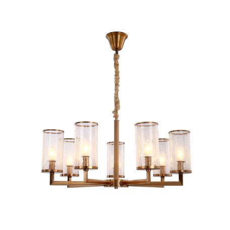 Подвесная люстра Lumina Deco Howard LDP 8040-7 MD, 7xE14x40W, матовое золото, янтарь, металл, стекло