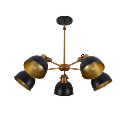 Подвесная люстра Lumina Deco Belmonti LDP D017-5 BK, 5xE27x40W, золото, черный с золотом, металл