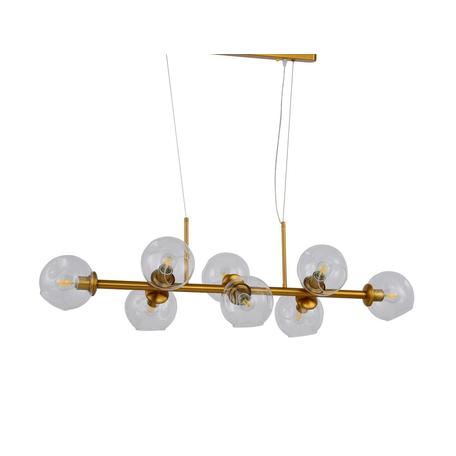 Подвесной светильник Lumina Deco Moretti LDP 7003-8 MD, 9xE27x40W, матовое золото, прозрачный, металл, стекло