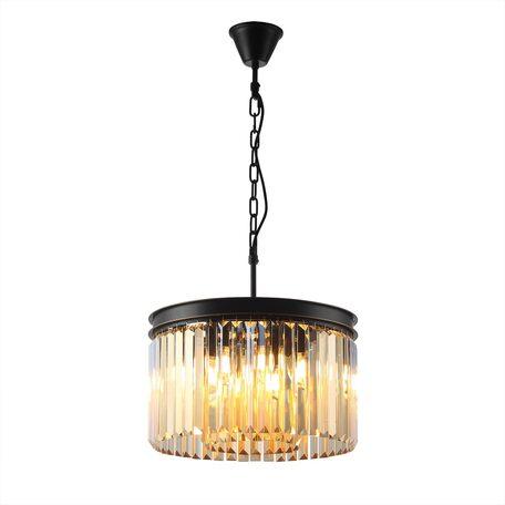 Светильник Citilux Мартин CL332082, 8xE14x60W, черный, янтарь, металл, хрусталь