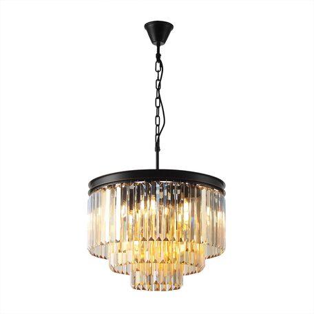 Светильник Citilux Мартин CL332132, 12xE14x60W, черный, янтарь, металл, хрусталь