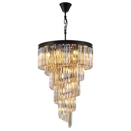 Светильник Citilux Мартин CL332172, 21xE14x60W, черный, янтарь, металл, хрусталь