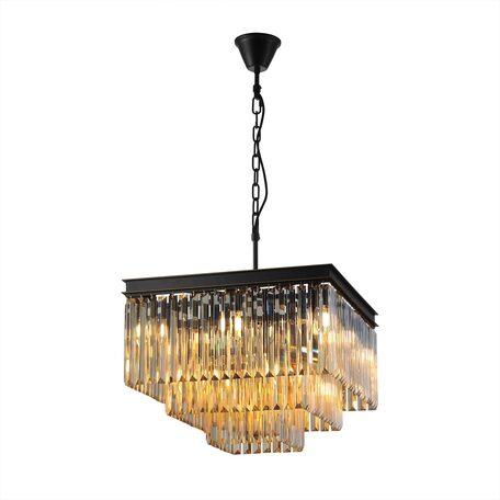 Светильник Citilux Мартин CL332232, 12xE14x60W, черный, янтарь, металл, хрусталь