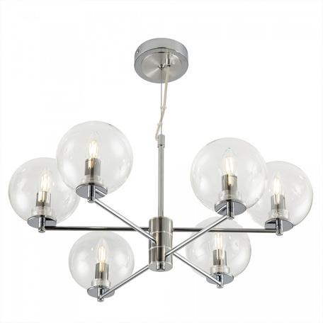 Светильник Citilux Галлен CL240161, 6xE14x40W, хром, прозрачный, металл, стекло