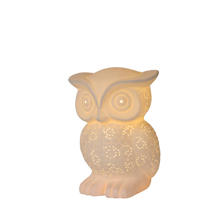 Настольная лампа Lucide Owl 13505/01/31, 1xE14x25W, белый, керамика