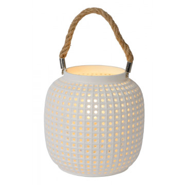 Настольная лампа Lucide Safiya 13525/01/31, 1xE14x25W, белый, керамика, канат
