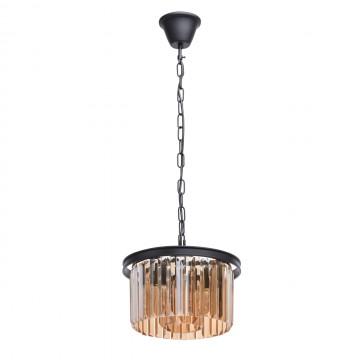 Подвесная люстра MW-Light Гослар 498015203, 3xE14x60W, черный, коньячный, металл, хрусталь