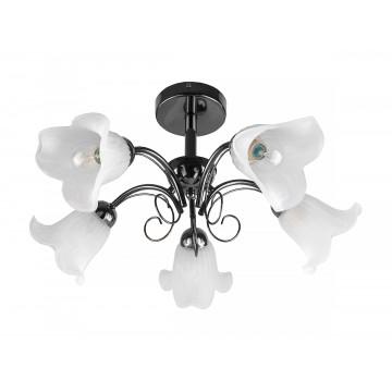 Потолочная люстра Toplight Magdalene TL3490X-05BC, 5xE14x40W, черный, белый, металл, стекло