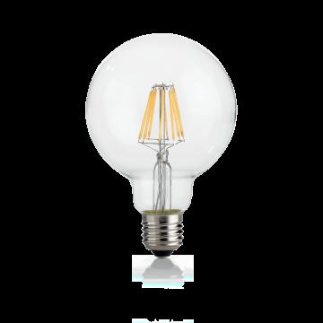 Филаментная светодиодная лампа Ideal Lux E27 08W GLOBO D095 TRASP 3000K 101323 (CLASSIC E27 8W GLOBO D95 TRASP 3000K) шар малый E27 8W (теплый) 240V