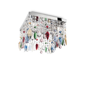 Люстра-каскад Ideal Lux GIADA COLOR PL4 099200, 4xG9x40W, хром, разноцветный, металл, стекло
