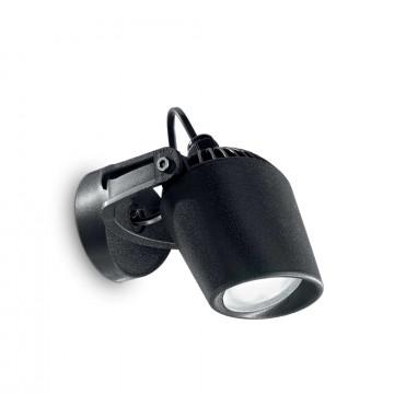 Настенный светильник с регулировкой направления света Ideal Lux MINITOMMY AP1 NERO 096476, IP66, 1xGU10x4,5W, черный, пластик