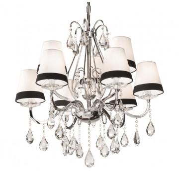 Подвесная люстра Ideal Lux DOMUS SP9 093277, 9xE14x40W, хром, белый, черный, прозрачный, металл, текстиль, стекло