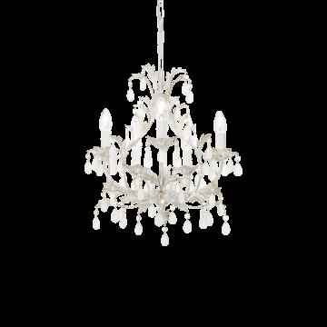 Подвесная люстра Ideal Lux CASCINA SP5 100272, 5xE14x40W, белый с золотой патиной, белый, металл, стекло