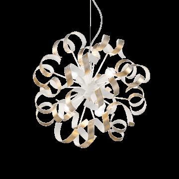 Подвесная люстра Ideal Lux VORTEX SP6 ORO 101606, 6xE14x40W, белый, матовое золото, металл