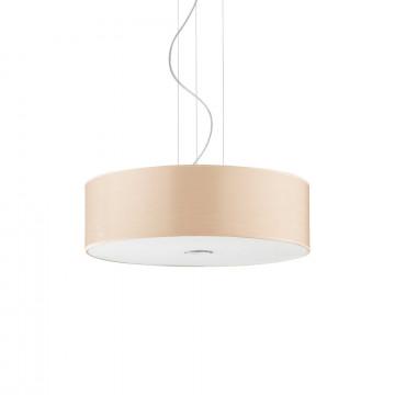 Подвесной светильник Ideal Lux WOODY SP4 WOOD 087702, 4xE27x60W, хром, бежевый, металл, пластик, стекло