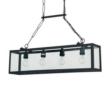 Подвесной светильник Ideal Lux IGOR SP4 NERO 092942, 4xE27x60W, черный, прозрачный, металл, стекло