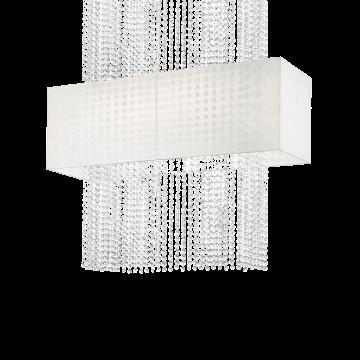 Потолочная люстра Ideal Lux PHOENIX SP5 BIANCO 099101, 5xE27x60W, хром, белый, прозрачный, металл, текстиль, хрусталь