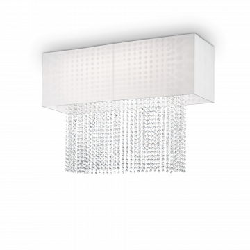 Потолочная люстра Ideal Lux PHOENIX PL5 BIANCO 099118, 5xE27x60W, хром, белый, прозрачный, металл, текстиль, хрусталь - миниатюра 1