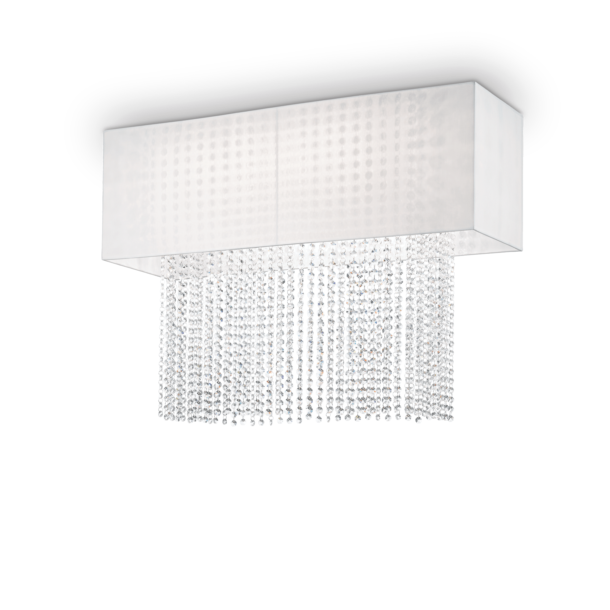 Потолочная люстра Ideal Lux PHOENIX PL5 BIANCO 099118, 5xE27x60W, хром, белый, прозрачный, металл, текстиль, хрусталь - фото 1