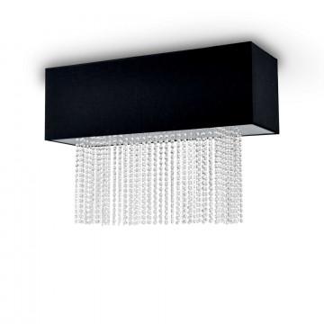 Потолочная люстра Ideal Lux PHOENIX PL5 NERO 101156, 5xE14x60W, хром, черный, прозрачный, металл, текстиль, хрусталь
