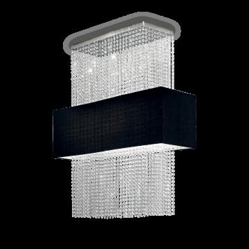 Потолочная люстра Ideal Lux PHOENIX SP5 NERO 101163, 5xE27x60W, хром, черный, прозрачный, металл, текстиль, хрусталь