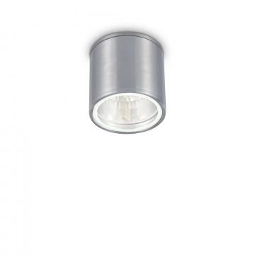 Потолочный светильник Ideal Lux GUN PL1 ALLUMINIO 092324, IP44, 1xGU10x28W, алюминий, металл, стекло